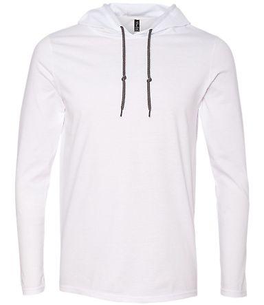 987 Anvil Ringspun Long-Sleeve Hooded T-Shirt White