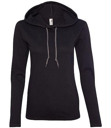 887L Anvil Ladies' Ringspun Long-Sleeve Hooded T-S Black