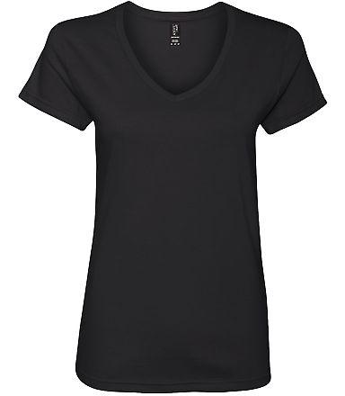 88VL Anvil - Missy Fit Ringspun V-Neck T-Shirt Black