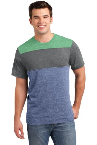 DT143 District® Young Mens Tri-Blend Pieced Crewn Green/Grey/Nvy