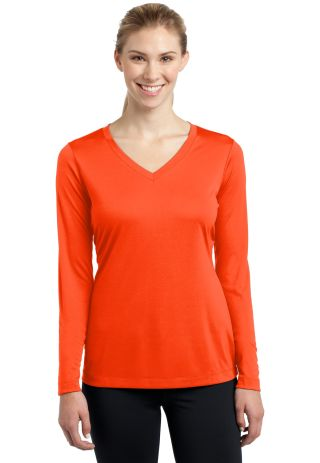 LST353LS Sport-Tek® Ladies Long Sleeve V-Neck Com Neon Orange