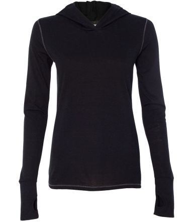 W3101 All Sport Ladies Triblend Thumbhole Hooded T Solid Black Triblend