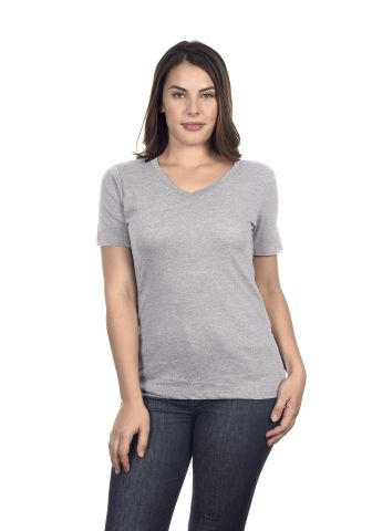 HC1125 Cotton Heritage Womens V-Neck Tee Athletic Heather