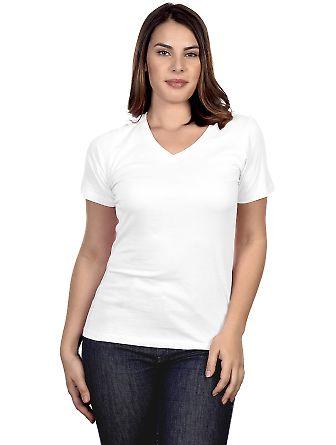 HC1125 Cotton Heritage Womens V-Neck Tee White