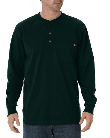 Dickies Workwear WL451T Men's Tall Long-Sleeve Heavyweight Henley HUNTER GREEN