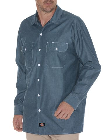Dickies Workwear WL509T Men's Tall Relaxed Fit Long-Sleeve Chambray Shirt BLUE CHAMBRAY