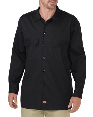 Dickies Workwear WL675 Men's FLEX Relaxed Fit Long-Sleeve Twill Work Shirt BLACK