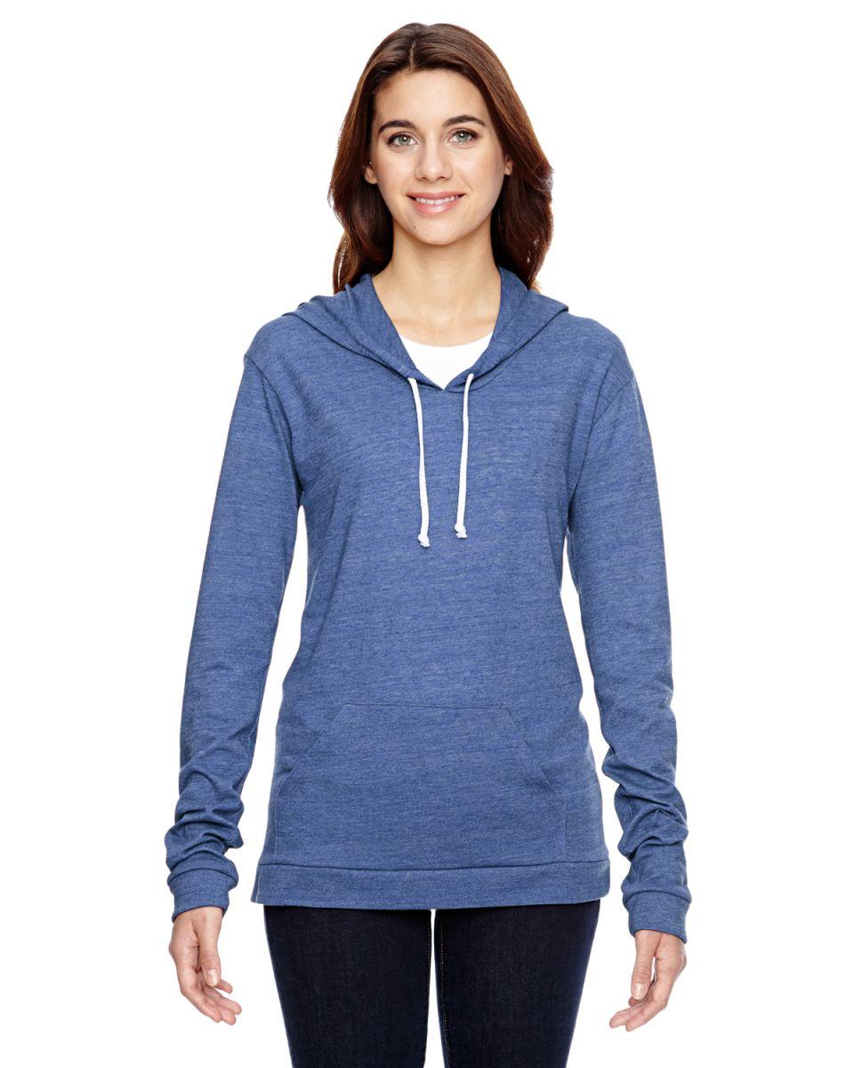 ... Alternative Apparel 01928E1 Ladies Hooded T-shirt ECO PACIFIC BLUE ... 49c0a018a