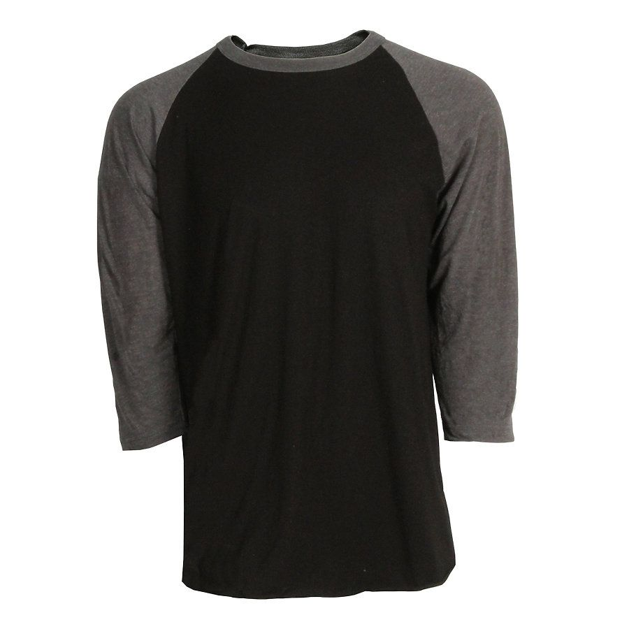 aa617d217 ... White Heather Charcoal Tultex 0245TC Unisex Fine Jersey Raglan Tee Black Heather  Charcoal  New  ...