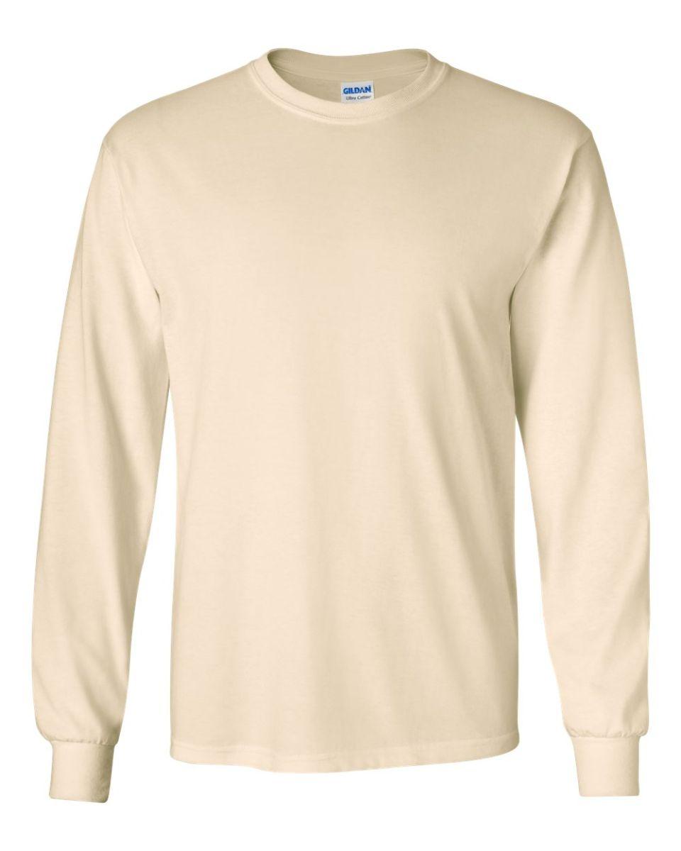 4a583ef15b55 ... 2400 Gildan Ultra Cotton Long Sleeve T Shirt NATURAL ...