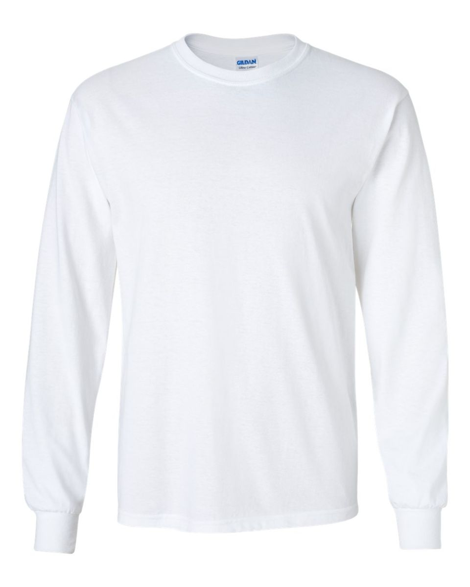 df723664 2400 Gildan Ultra Cotton Long Sleeve T Shirt WHITE ...