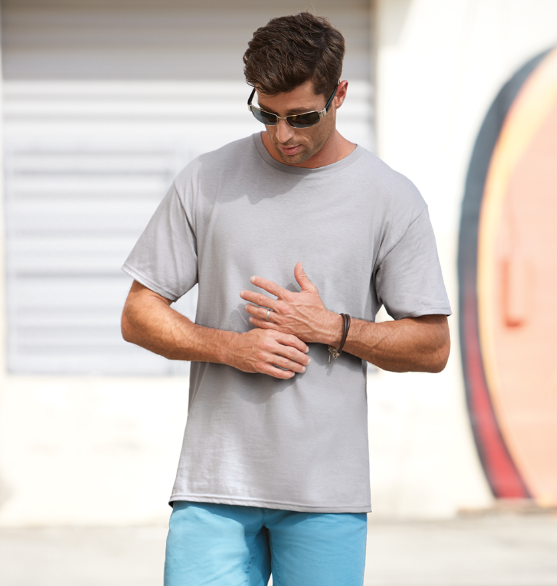 8911a52c 5.5 oz 100% Pre Shrunk Ringspun Cotton 20/1's Adult Short Sleeve Tee 20/1's  Tear-away label is easily replaced with yours 3/4