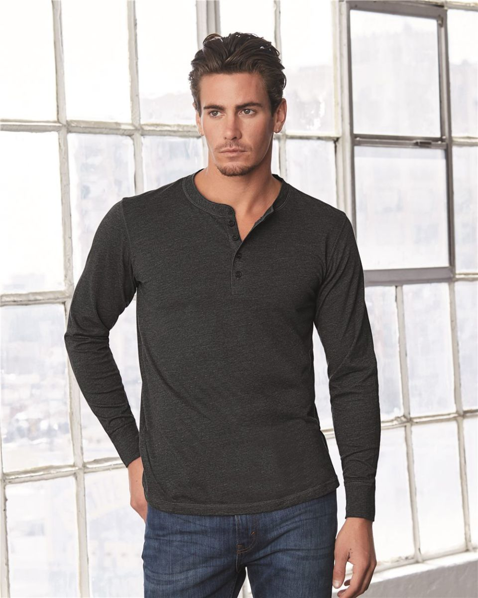 9f661a50ab14 BELLA+CANVAS 3150 Mens Long Sleeve Henley Shirt