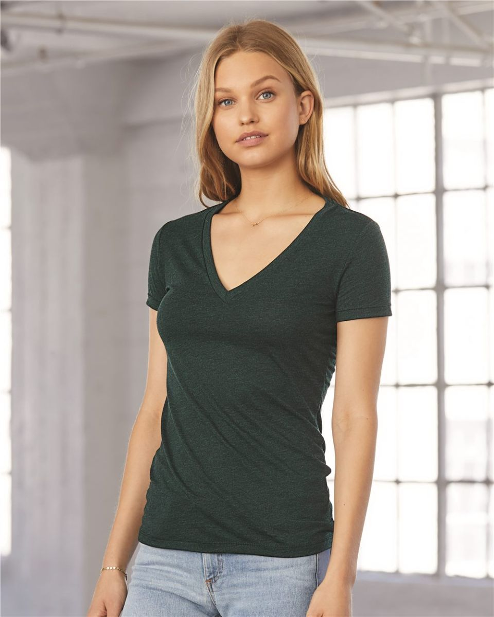 67d8ce20035d BELLA 8435 Womens Fitted Tri-blend Deep V T-shirt