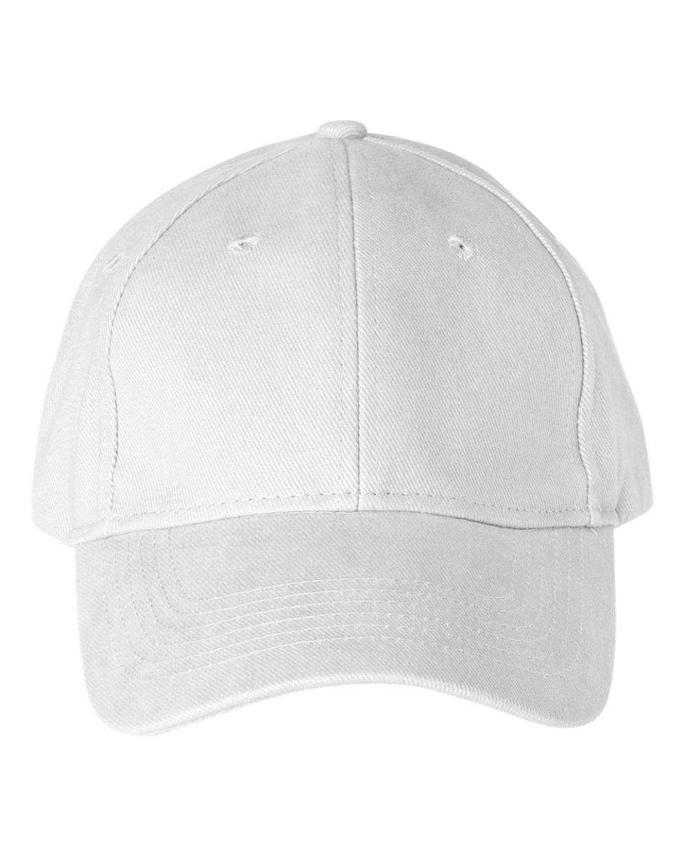 2e6697a4e31 136 Anvil Cotton Solid Six-Panel Brushed Twill Cap White ...