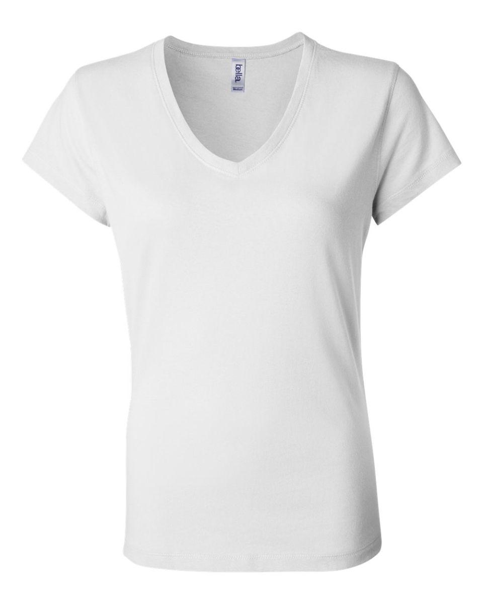 16ba1cdd6 ... BELLA 6005 Womens V-Neck T-shirt WHITE ...