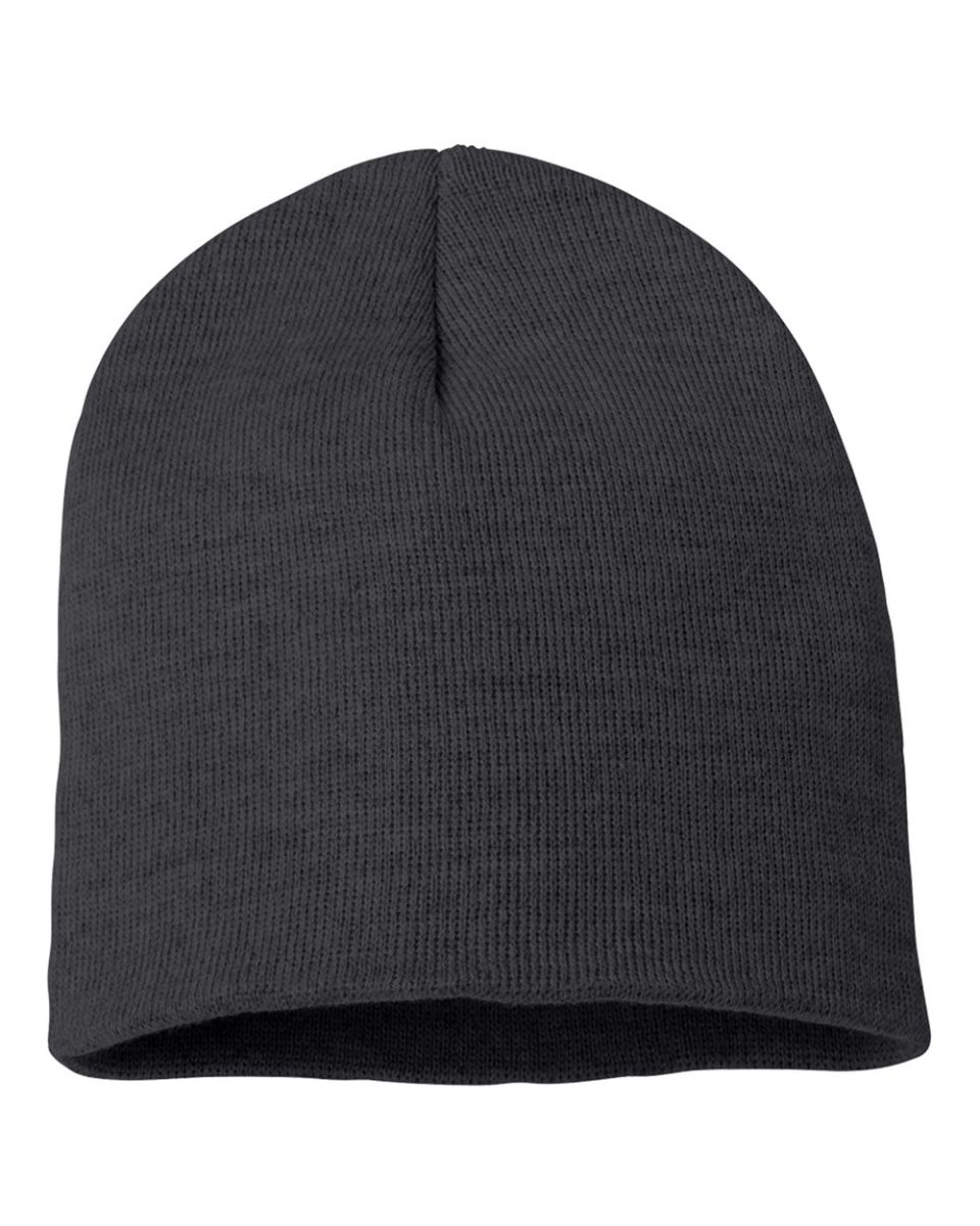 728b86a510a ... White SP08 Sportsman 8 Inch Knit Beanie Charcoal ...