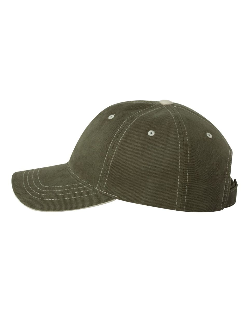 e96e8fbf5c935 This contrast-stitched cap is made with 100% cotton twill. This cap  features a low profile with six unstructured panels. The pre-curved visor  gives that ...