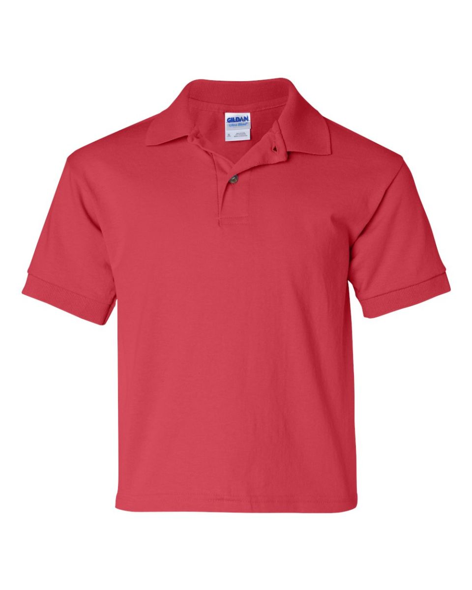 c9f643d3dd4 ... 8800B Gildan Youth 5.6 oz. Ultra Blend® 50/50 Jersey Polo RED ...