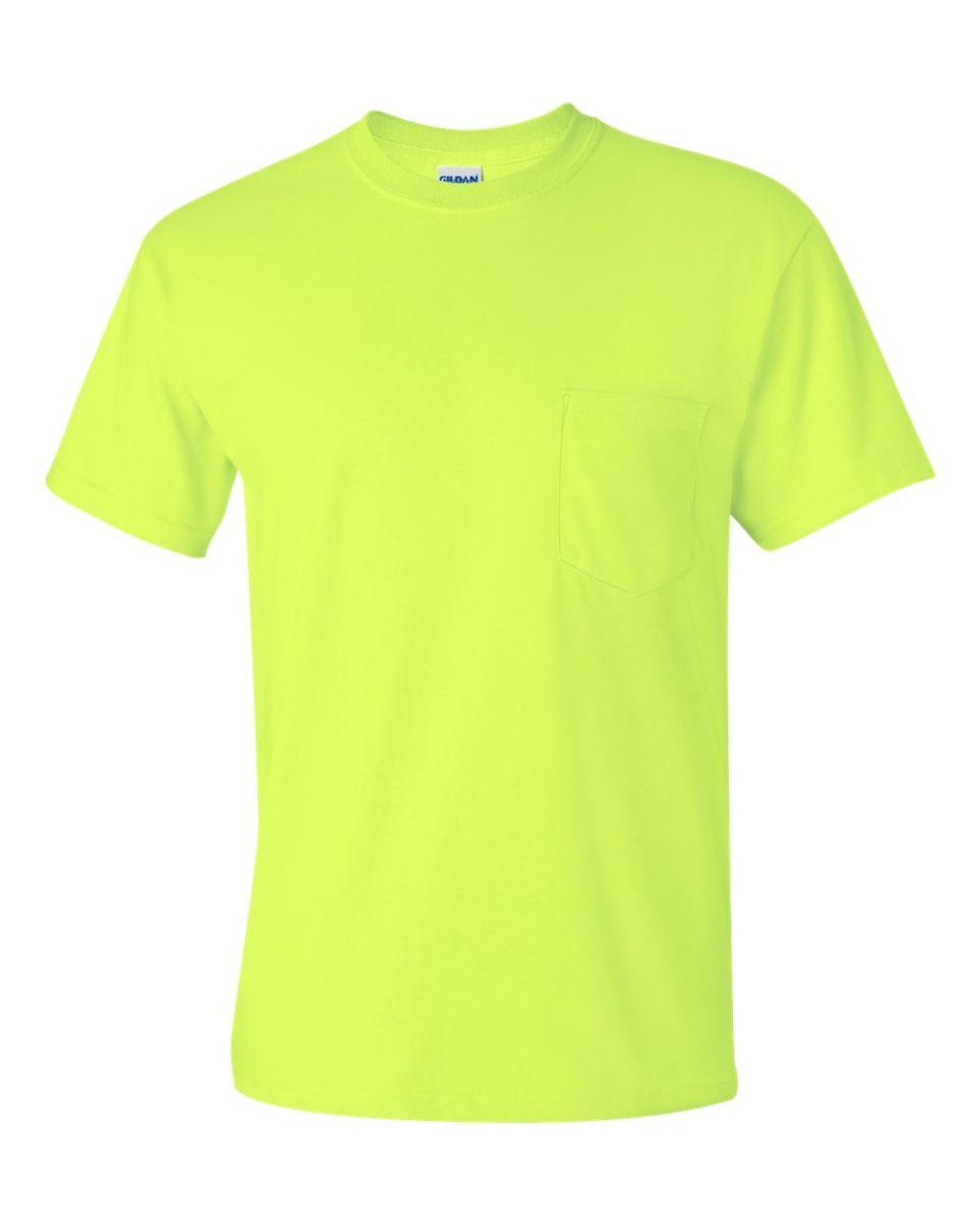 438ee25470e ... 2300 Gildan Ultra Cotton Pocket T-shirt SAFETY GREEN ...