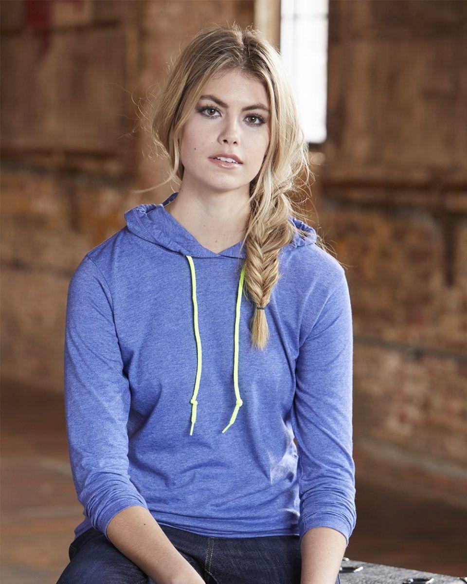 c9922042 887L Anvil Ladies' Ringspun Long-Sleeve Hooded T-Shirt