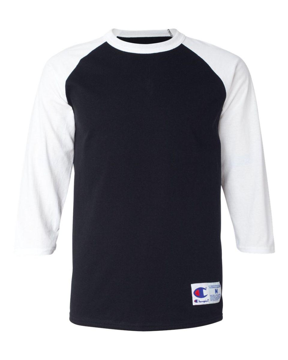 bafe74bb1 T137 Champion Logo Raglan Baseball Tee Black/ White ...