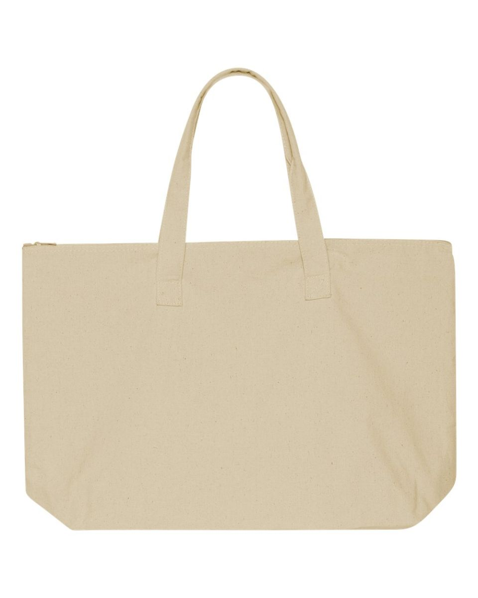8b339cedd84b Liberty Bags 8863 10 Ounce Cotton Canvas Tote with Zipper Top Closure  NATURAL ...