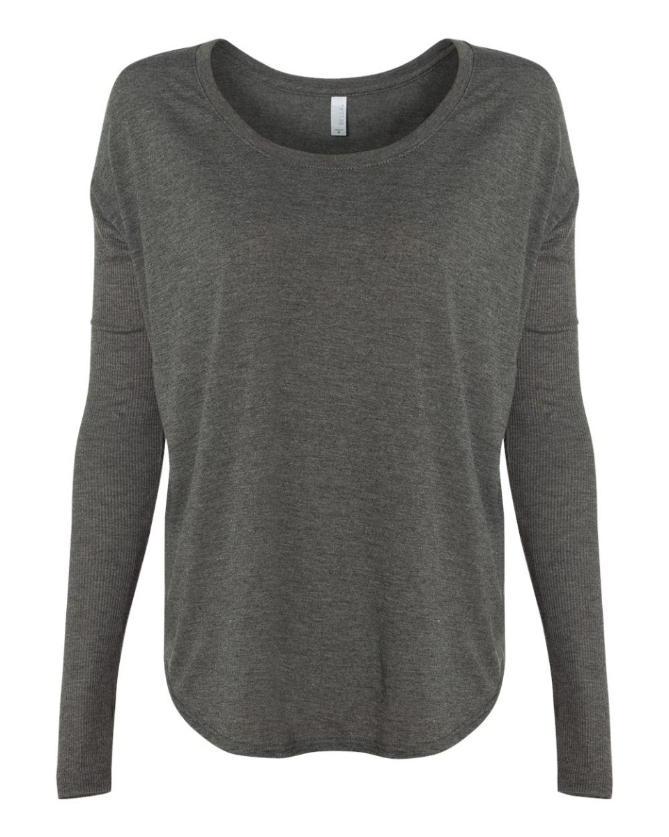 5e21fe73 ... Bella 8852 Womens Long Sleeve Flowy T-Shirt With Ribbed Sleeves DRK  GREY HEATHER ...