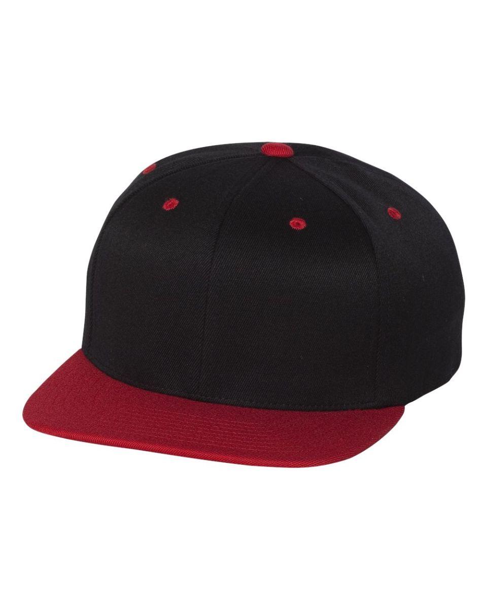 37639ae1d7a2f 110F Flexfit Wool Blend Flat Bill Snapback Cap BLACK  RED ...