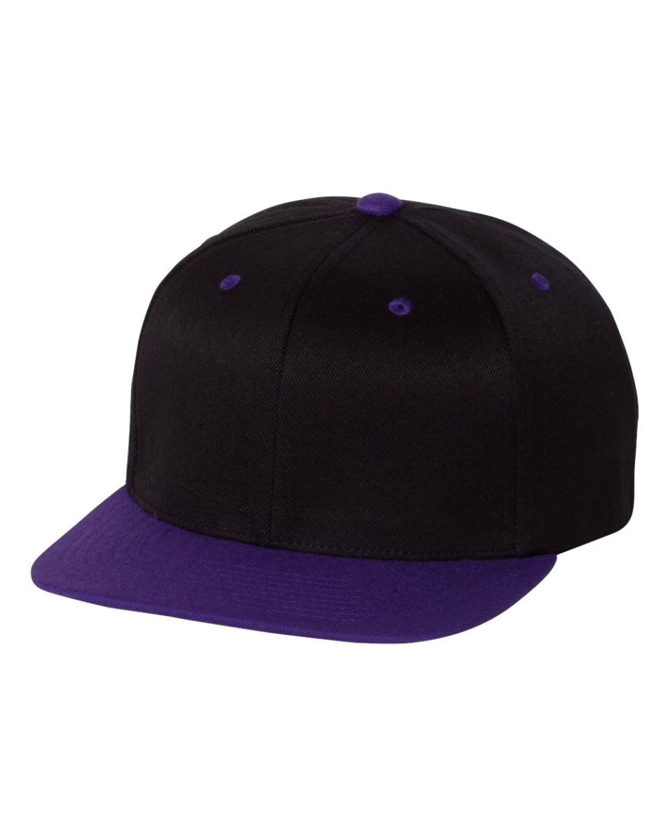 436928b6e6c ... 110F Flexfit Wool Blend Flat Bill Snapback Cap BLACK  PURPLE ...