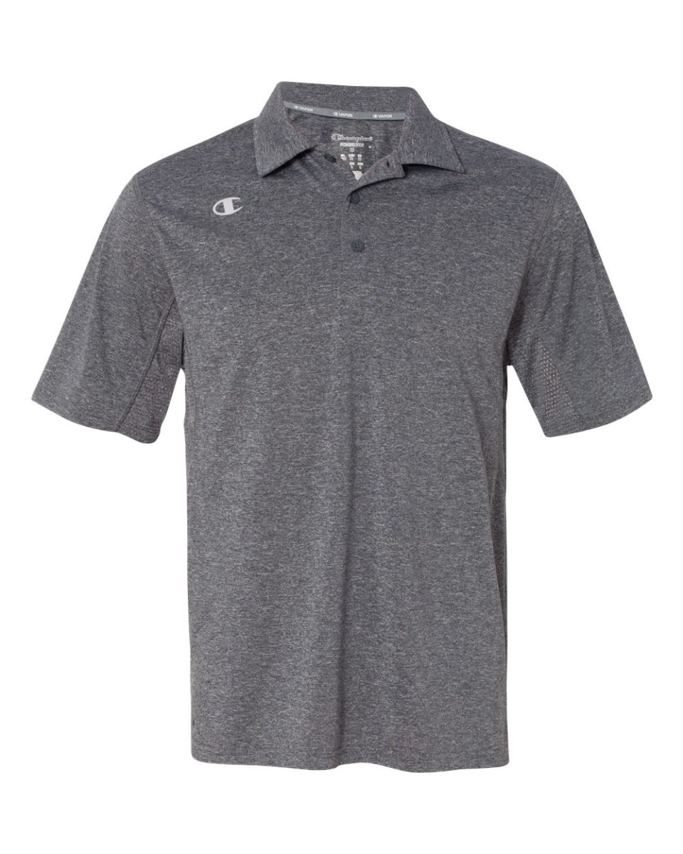 34acba8e614 ... Scarlet Heather Champion CV60 Vapor Performance Heather Sport Shirt  Slate Grey Heather ...