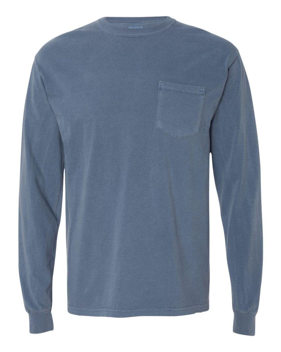 bcc315054341 ... 4410 Comfort Colors - Long Sleeve Pocket T-Shirt Blue Jean ...