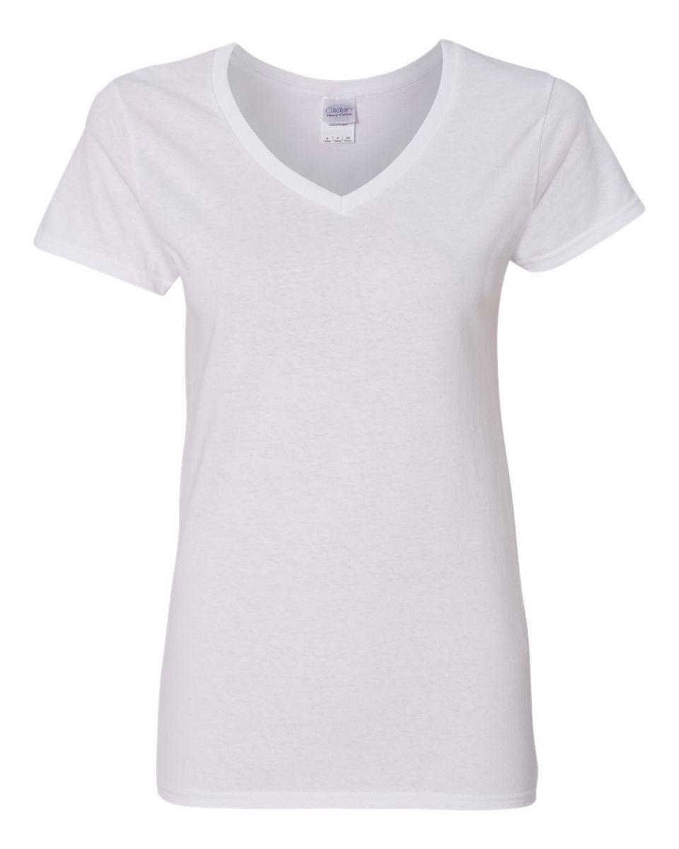 7ddf52fcf 5V00L Gildan Heavy Cotton™ Ladies' V-Neck T-Shirt WHITE ...