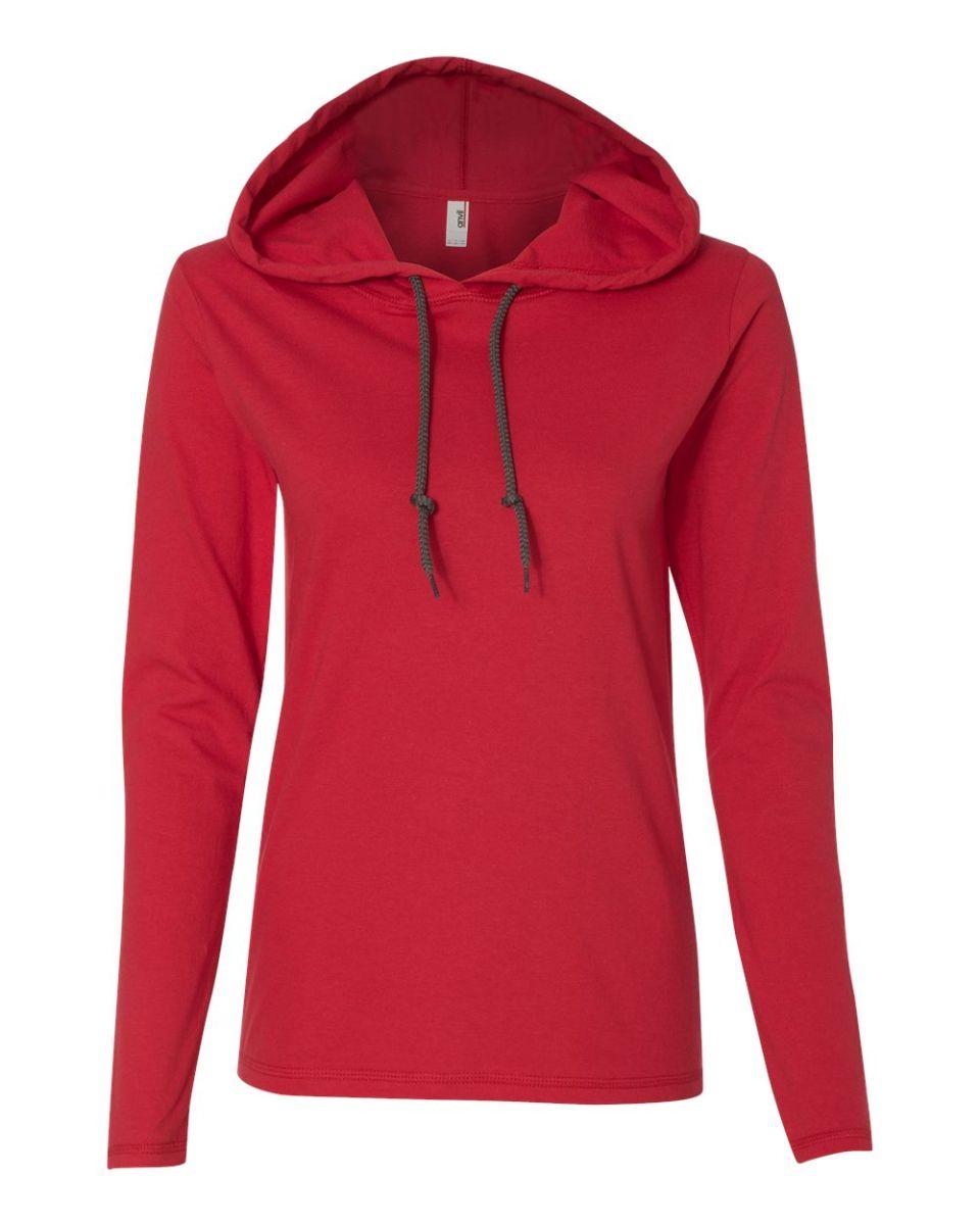 f3d6cd533c4f ... 887L Anvil Ladies  Ringspun Long-Sleeve Hooded T-Shirt Red  Dark Grey  ...