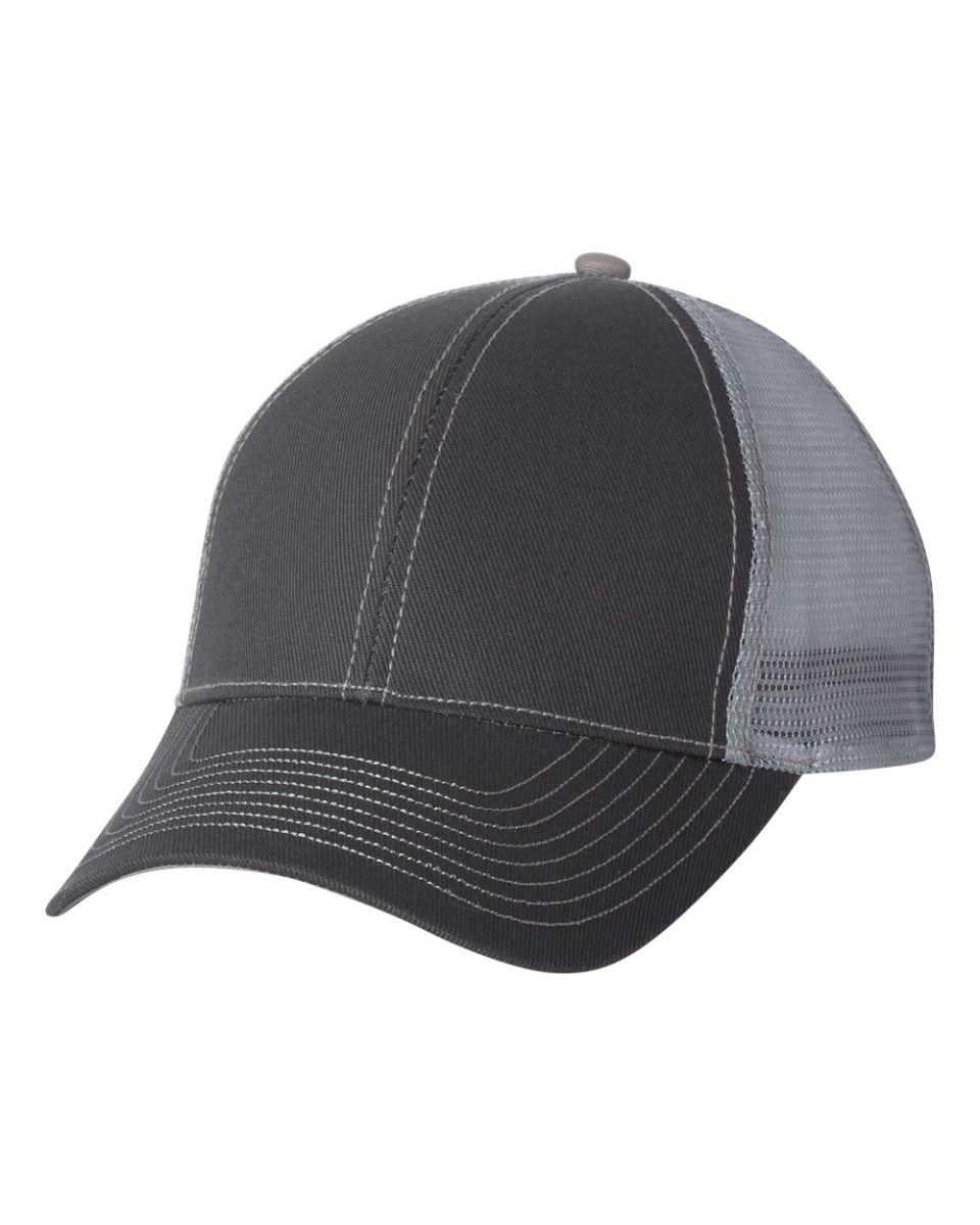 cb259214eae ... 7641 Mega Cap Heavy Cotton Twill Front Trucker Cap Dark Grey  Grey ...