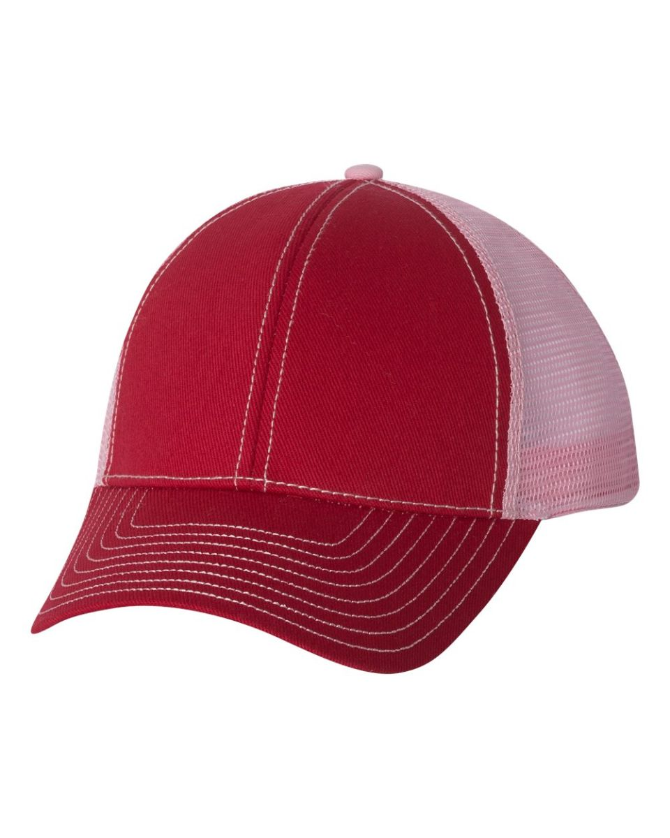 7b569405da4 ... 7641 Mega Cap Heavy Cotton Twill Front Trucker Cap Red  Pink ...