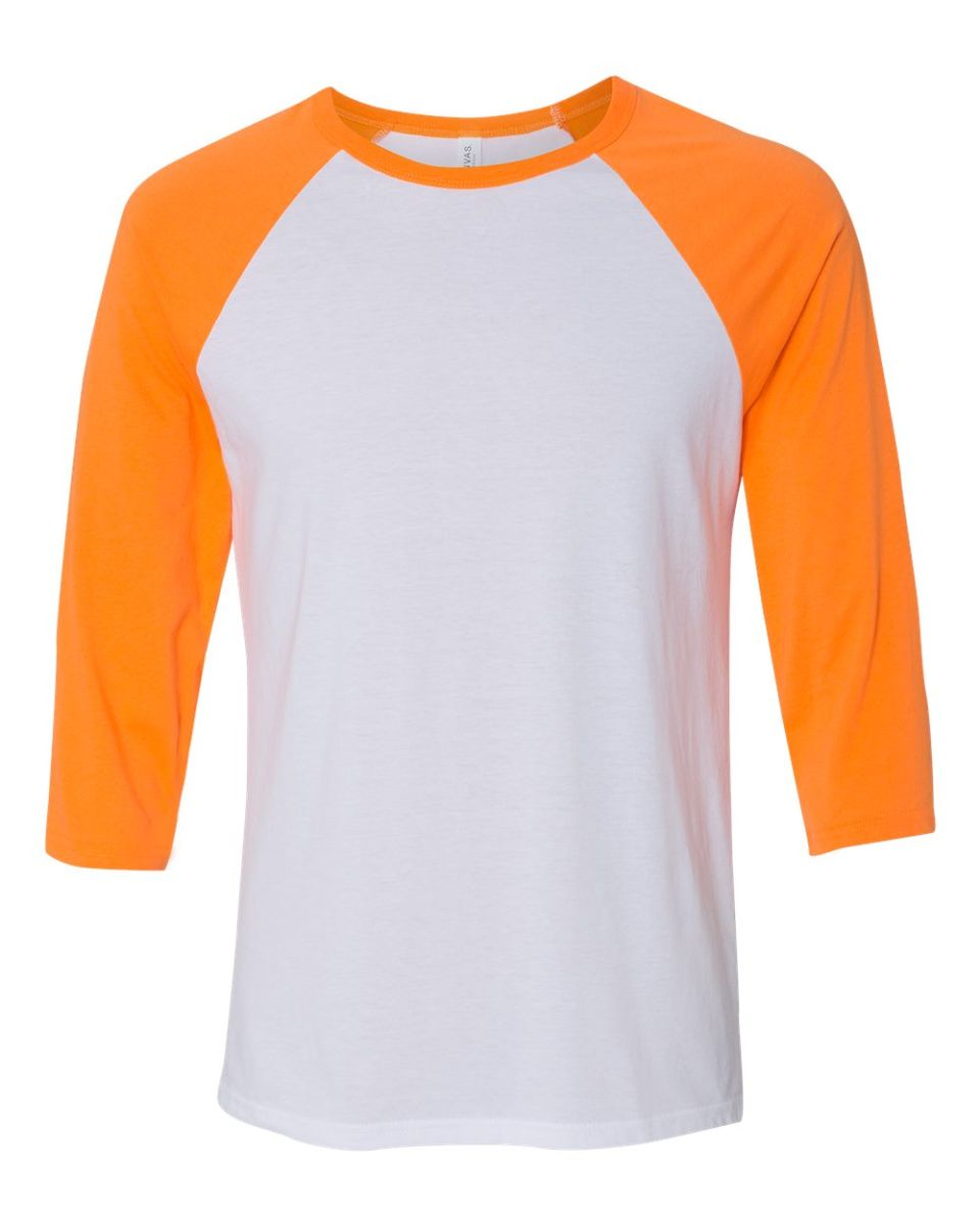d89eb47b24e ... BELLA+CANVAS 3200 Unisex Baseball Tee WHT  NEON ORANGE ...