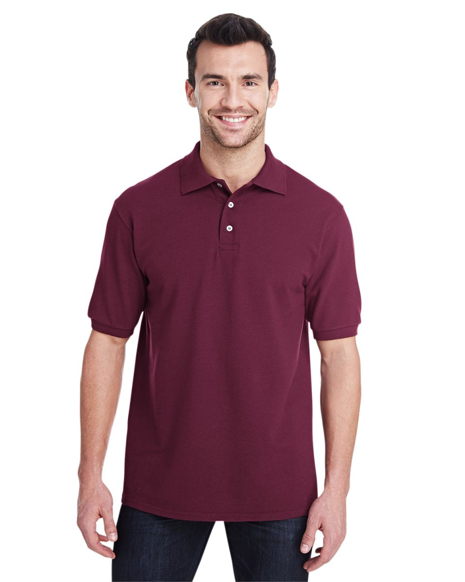 2884dba9 ... Jerzees 443M Easy Care Double Mesh Ringspun Pique Sport Shirt Maroon ...