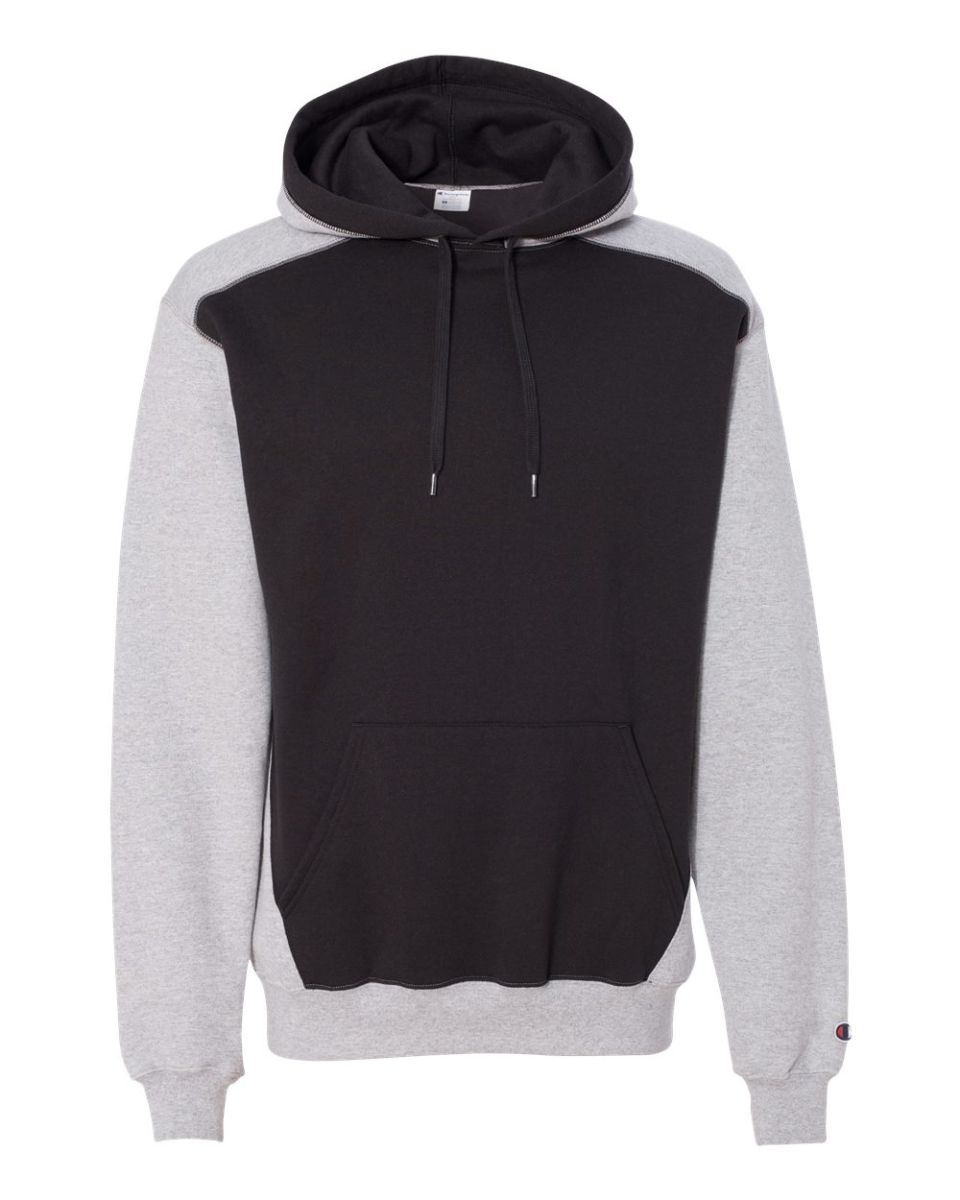 b7934963 ... Champion S750 Double Dry Eco Colorblocked Hooded Sweatshirt Light  Steel/ Black ...