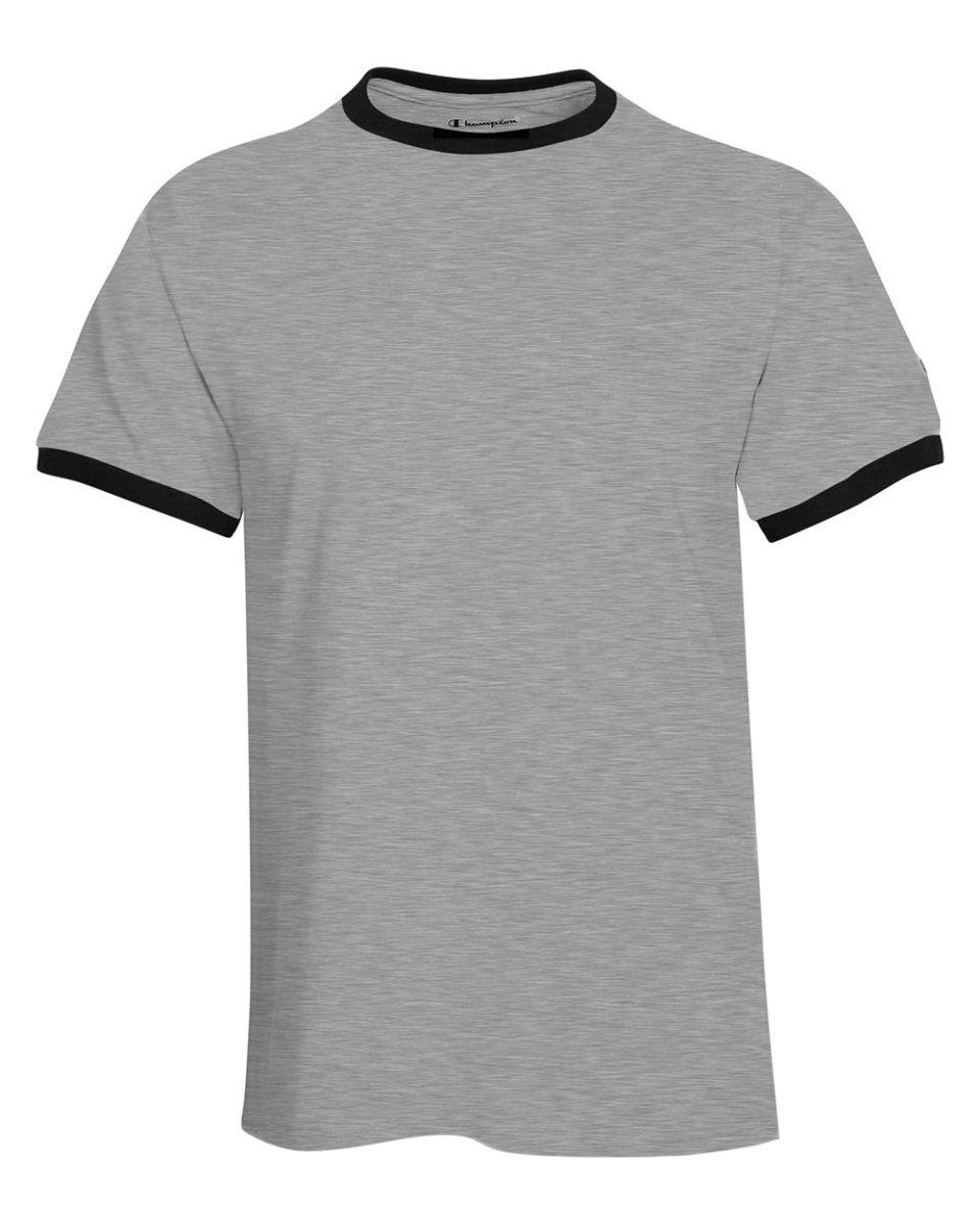 NWT Men/'s Champion Short Sleeve Big Logo T-Shirt White Navy Blue Ringer Size 2XL