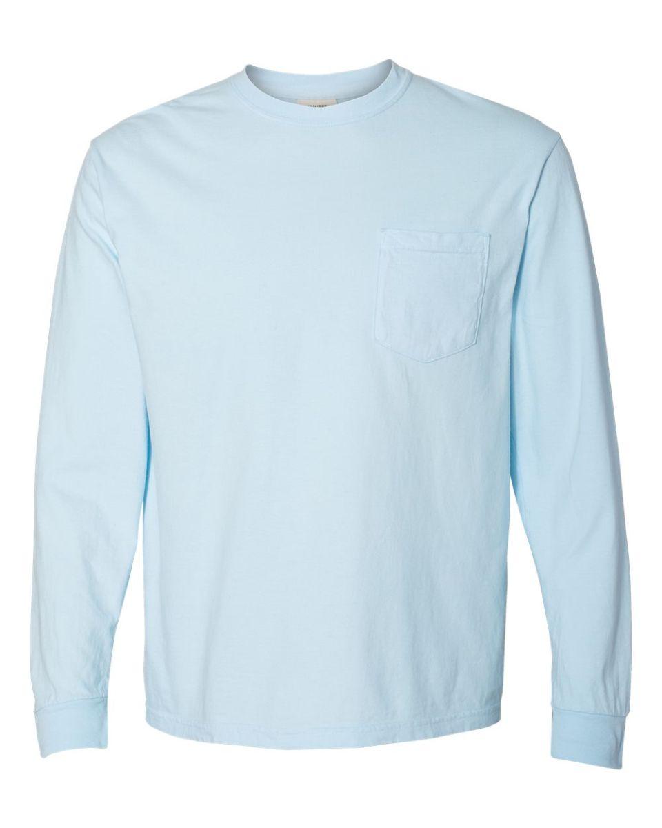 b43a9adba4fa ... 4410 Comfort Colors - Long Sleeve Pocket T-Shirt Chambray ...