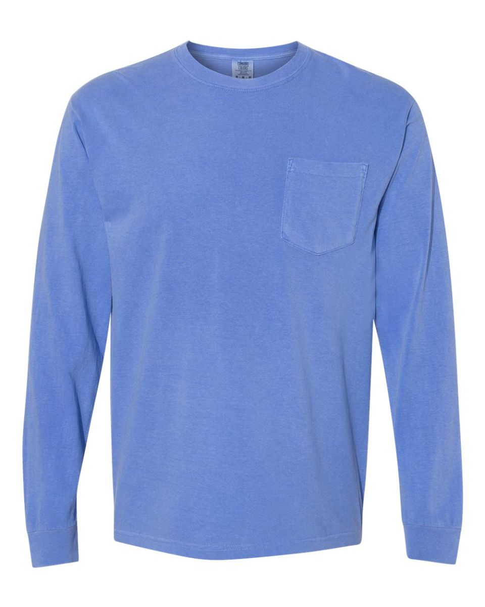 1cae6654 ... 4410 Comfort Colors - Long Sleeve Pocket T-Shirt Flo Blue ...
