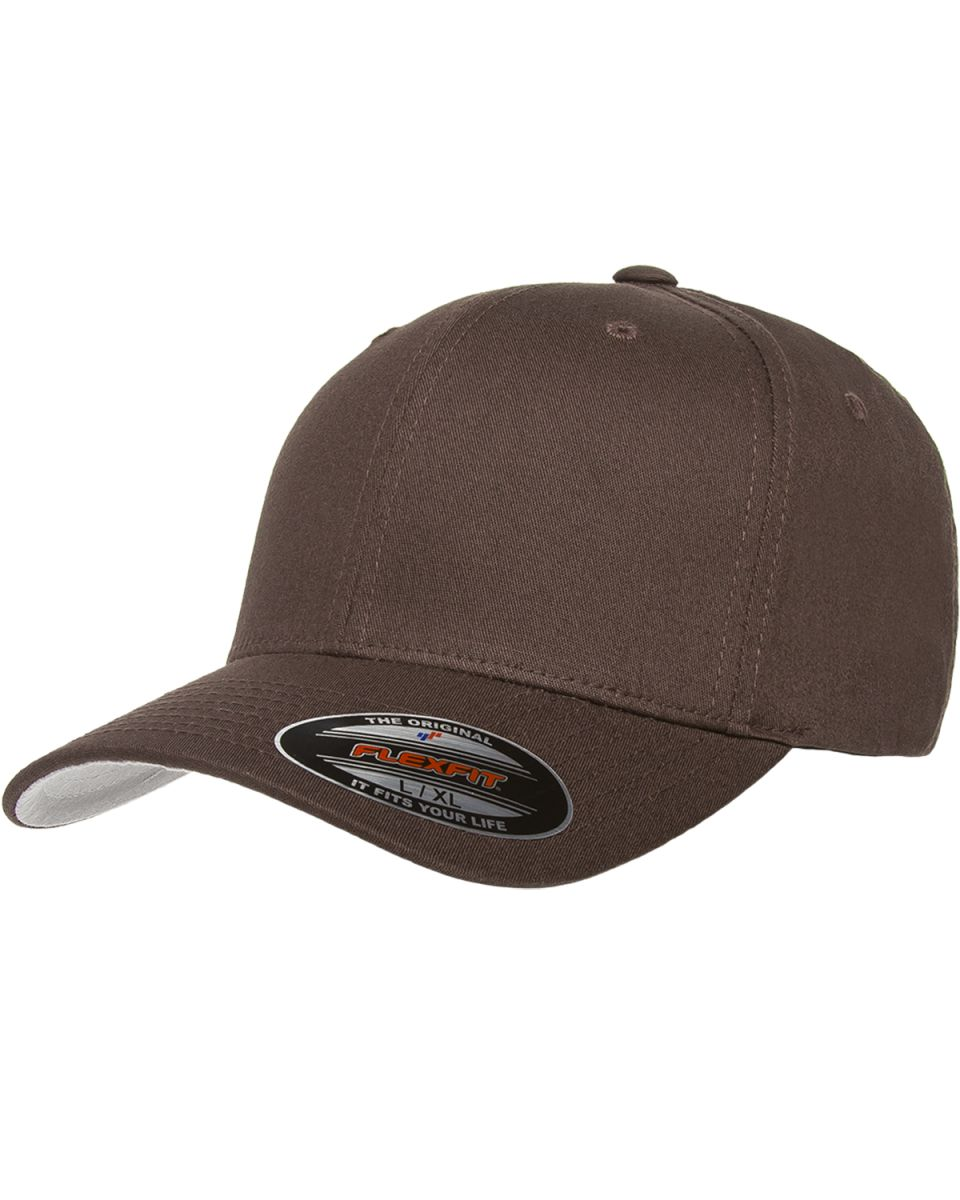 lowest price e422d 79cad Yupoong-Flex Fit · Fitted Hats · Cotton Blend · Flexfit V-Flex Twill    Structured Mid-Profile 6-Panel BROWN