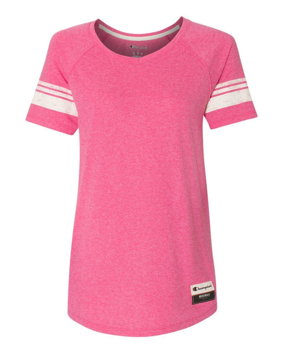 9679a41e ... Champion AO350 Authentic Originals Women's Triblend Varsity Tee Lotus  Pink Heather ...