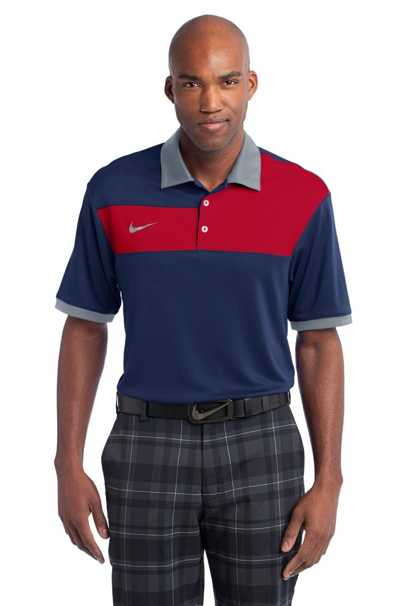 30d5ce42 Nike Golf Dri FIT Sport Colorblock Polo 527806 Navy/GmRed/Gry