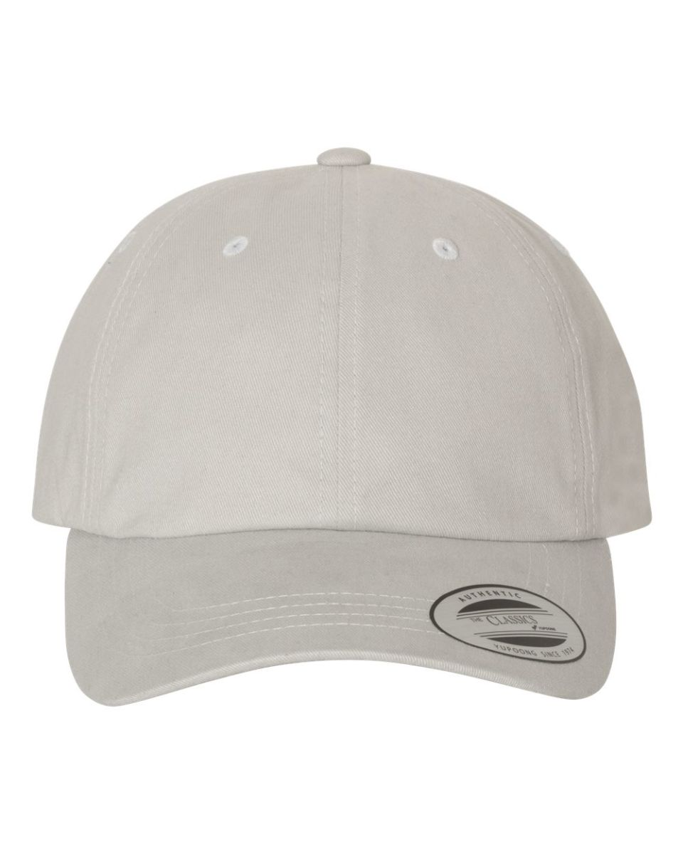 15fbf26f ... DIAMOND BLUE Yupoong 6245PT Peached Cotton Twill Dad Cap LIGHT GREY ...