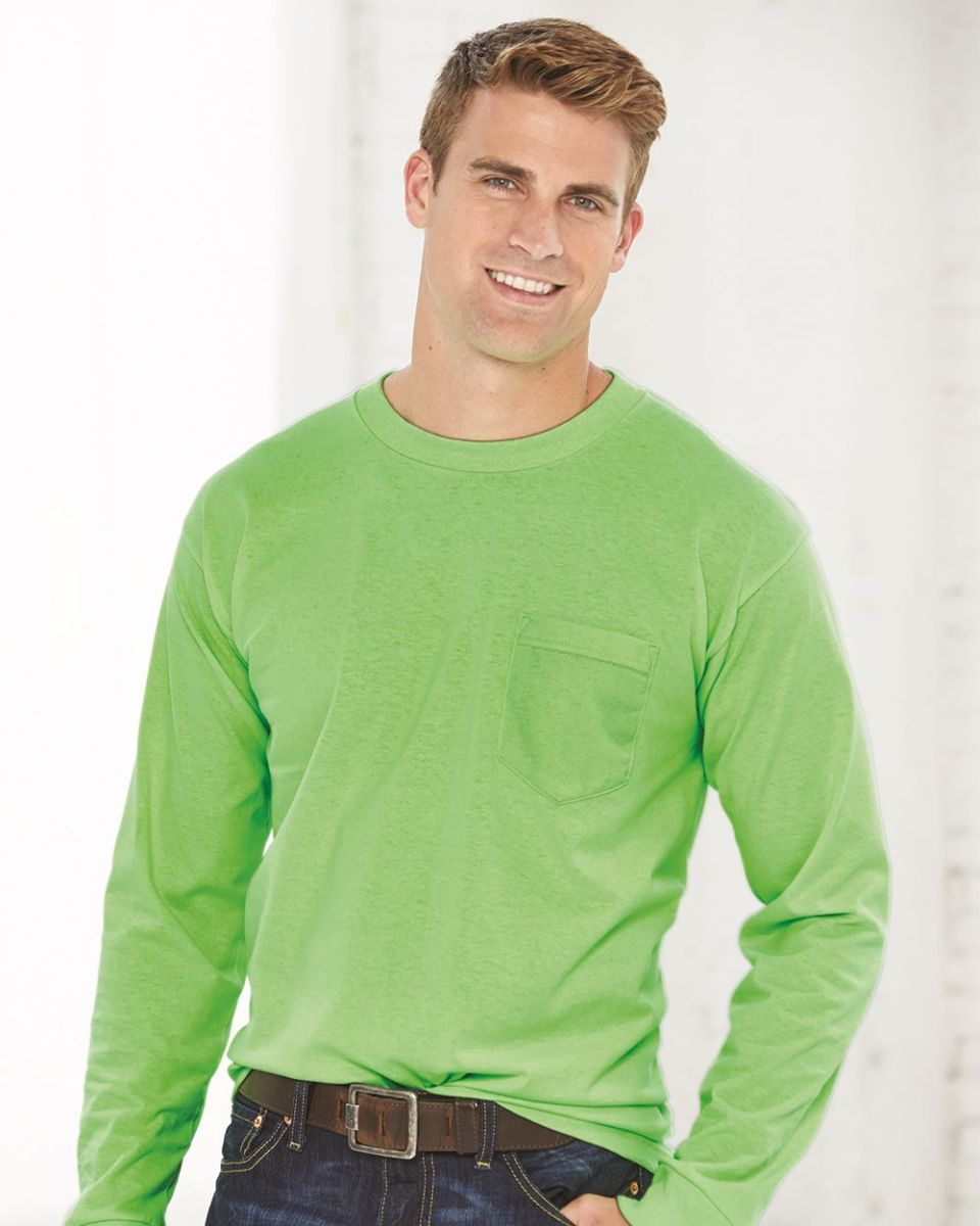 e3f5e041205 8100 Bayside Adult Long-Sleeve Cotton Tee with Pocket. Style