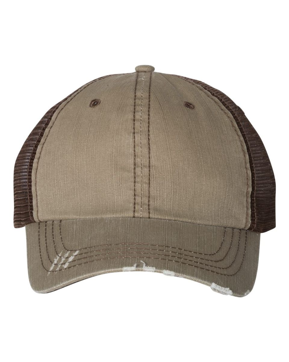 052e91ab00950 ... Mega Cap 6990 Herringbone Unstructured Trucker Cap Khaki  Brown ...