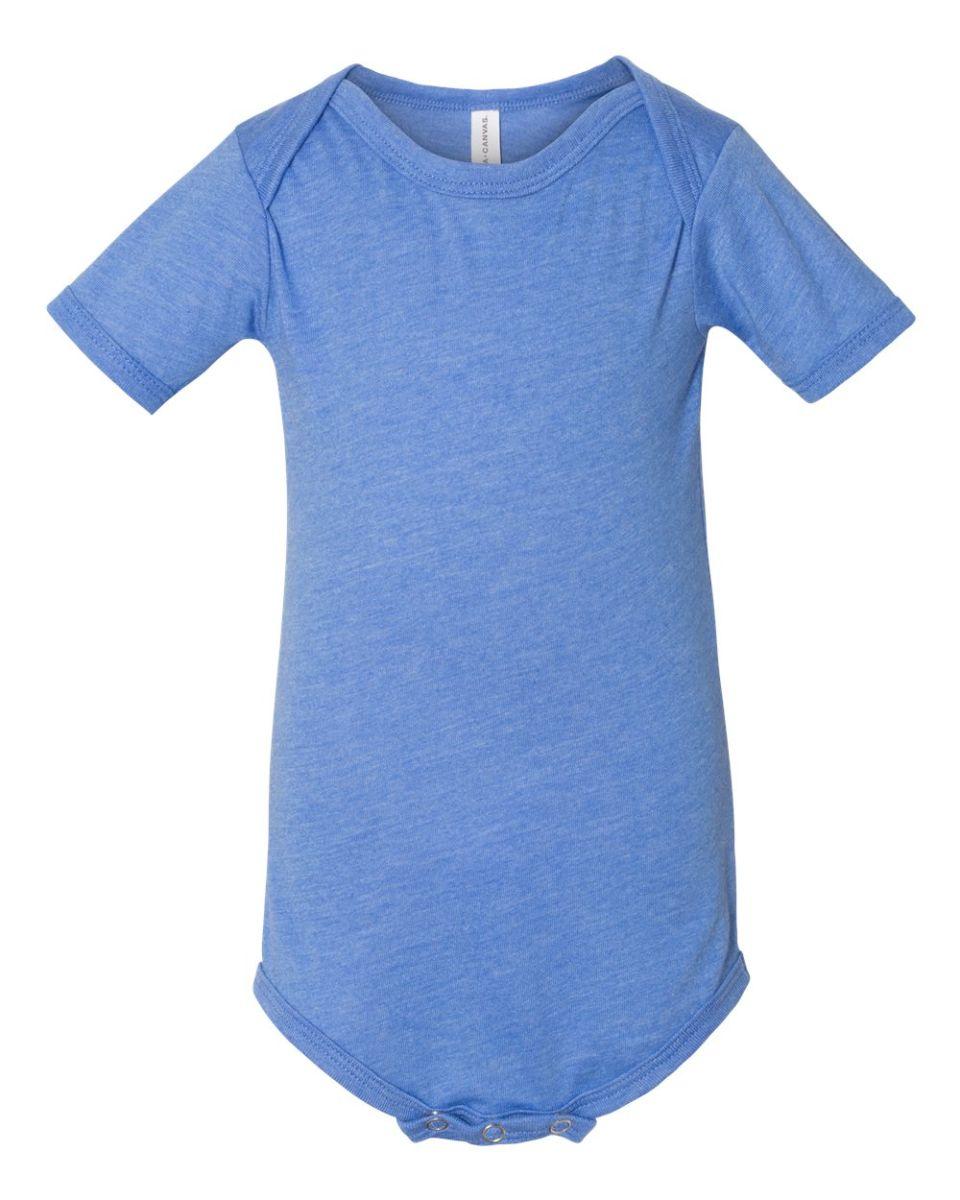 e8246bd73 ... 100B Bella + Canvas Baby Short Sleeve Onesie HTHR COLUM BLUE ...