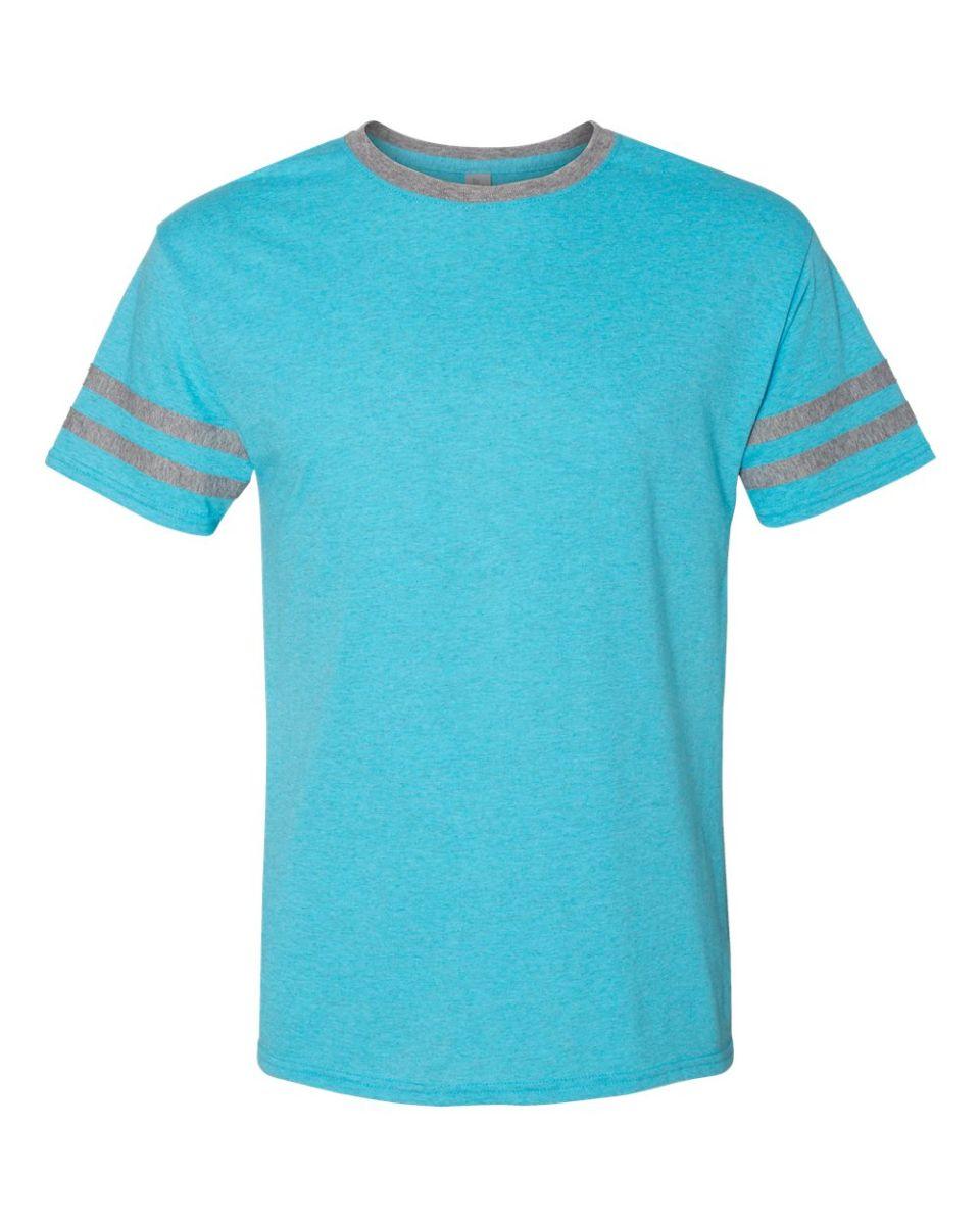 5a544ef2 Jerzees 602MR Triblend Ringer Varsity T-Shirt Caribbean Blue/ Oxford